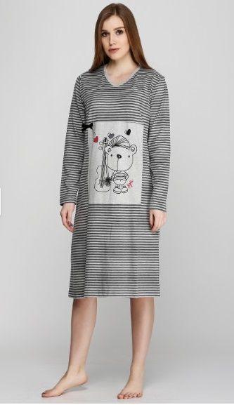 Купити Жіноча нічна сорочка Senfoni 1022-2 сірий Senfoni Жіночі ... 1e5b939ae6b13